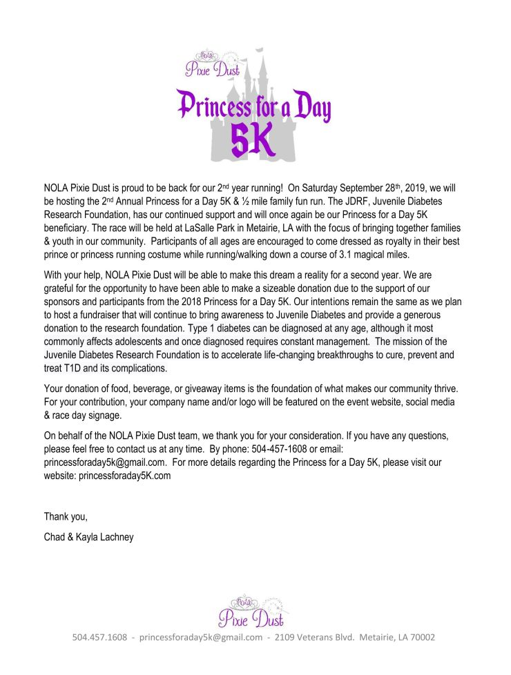 Princess for a Day 5K Donation Page 1