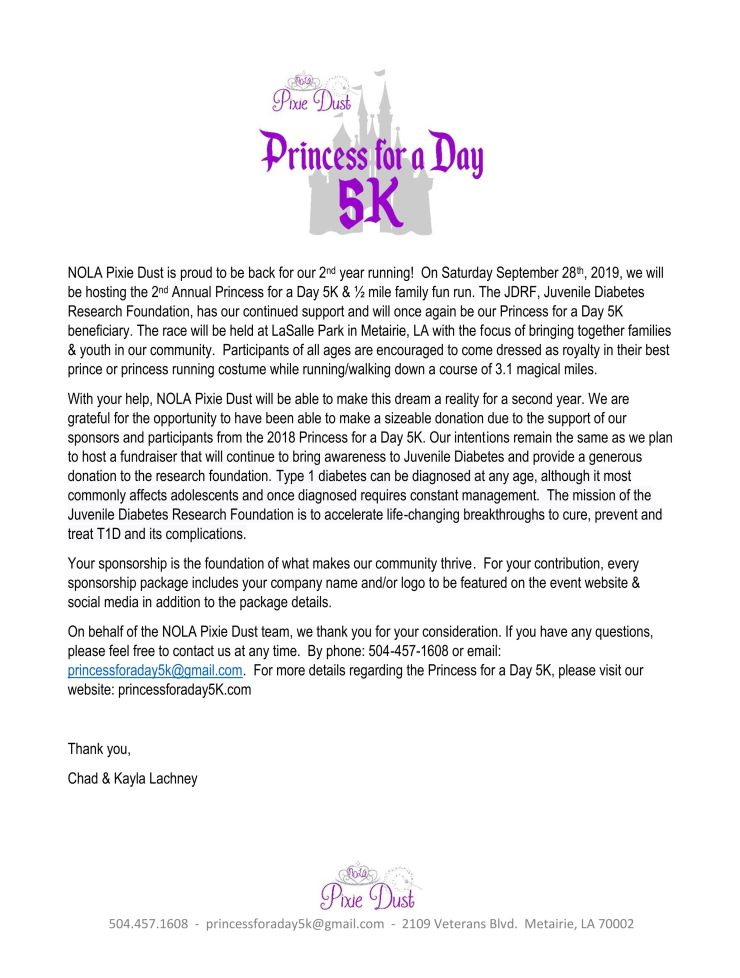 Princess for a Day 5K Sponsor Page 1